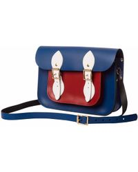 N'damus London - Blue & Red 11 Inches Leather Mini Pocket Satchel - Lyst