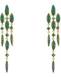 LÁTELITA London Valencia Statement Drop Earring Emerald Green Cz Gold