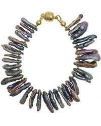 Farra Purple Freshwater Pearls Bracelet - Multicolour