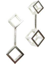 Stephanie Bates Silver Double Cube Drop Earrings - Metallic