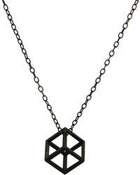 Stephanie Bates - Oxidised Silver Cube Pendant - Lyst