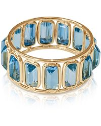 Trésor Tresor Gemstone Baguettes Stacking Ring In 18k Yellow Gold - Blue
