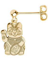 CarterGore - Gold Lucky Cat Single Short Drop Earring - Lyst