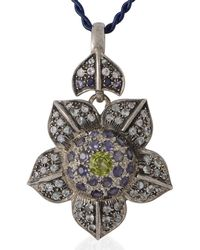 Emma Chapman Jewels - Rose Petal Iolite Peridot Moonstone Pendant - Lyst