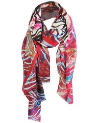 UnPaired - Swirl Peony Red Feather Light Cashmere Scarf - Lyst