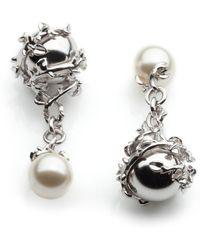Kasun Orb & Ivory Pearl Cufflinks - Metallic
