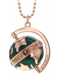True Rocks - Small Spinning Globe Necklace Rose Gold & Green Enamel - Lyst
