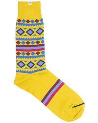 40 Colori - Gold Shapes & Stripes Organic Cotton Socks - Lyst