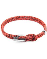 Anchor & Crew Red Noir Padstow Silver & Rope Bracelet - Multicolour