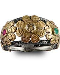 Emma Chapman Jewels - Diamond Ruby & Emerald Gold Flower Ring - Lyst