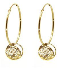 KIND - Medium Gold Crescent Lune Disc Hoop Earrings - Lyst