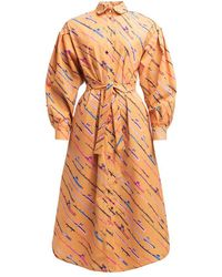 TOMCSANYI Tok Oversized Shirt Dress 'fishing Rod' - Orange