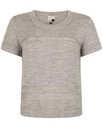 STUDIO MYR Short Sleeve Merino Sweater With Lace Details Sweety-mouse. - Grey