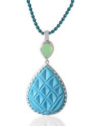 Emma Chapman Jewels Aztec Chrysoprase Turquoise Pendant - Blue