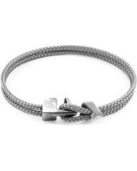 Anchor & Crew Classic Grey Delta Anchor Silver & Rope Bracelet - Metallic