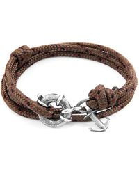 Anchor & Crew - Brown Clyde Anchor Silver & Rope Bracelet - Lyst