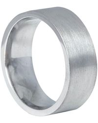 Edge Only 9ct White Gold Flat Matt Comfort Fit Ring 8mm A Wide Heavy Weight Mens Wedding Band With A Matte Finish
