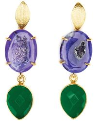 Magpie Rose - Purple Agate & Green Onyx Cocktail Earrings - Lyst