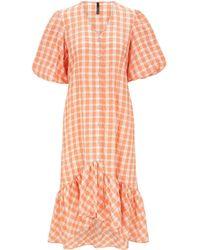Palones Apricot Gingham Puff Sleeve Dress - Orange