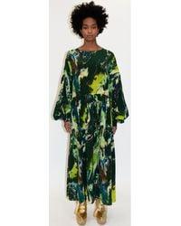 Klements Dusk Dress In Silk Psychriver Print - Green