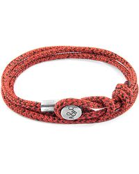 Anchor & Crew Red Noir Admiral Anchor Silver And Rope Bracelet