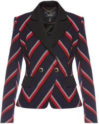 Nissa Lapel Stripes Suit Jacket - Blue