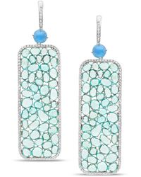 Trésor Aquamarine Paraiba Tourmaline & Diamond Earring In 18k White Gold - Blue