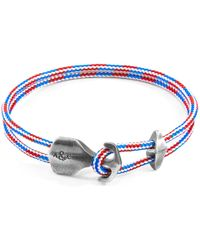 Anchor & Crew - Project Rwb Red White & Blue Delta Anchor Silver & Rope Bracelet - Lyst
