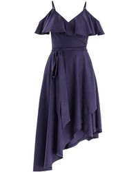 Paisie - Cold Shoulder Wrap Front Dress With Frills & Asymmetric Hem In Indigo - Lyst