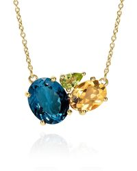Augustine Jewels Teal Topaz Cluster Gold Necklace - Metallic