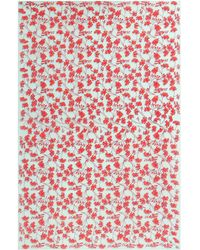 Pink House Mustique Lotty B Sarong In Silk Crepe-de-chine Flamboyant Flower - Multicolour