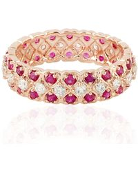 Artisan - Heart Shape Eternity Band In 18k Rose Gold With Ruby & Diamonds - Lyst