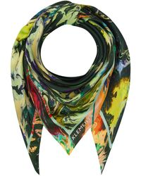 Klements Silk Scarf In Psychriver Print - Green