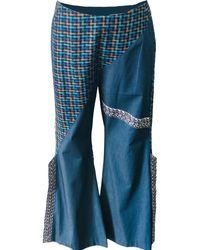ARSHYS Denim-linen Statement Trousers - Blue