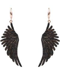 LÁTELITA London Angel Wing Drop Earring Rosegold Black Cz