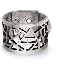 Ona Chan Jewelry - Leather Lattice Cuff Silver - Lyst
