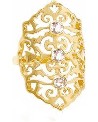 Neola Jade Gold Cocktail Ring With White Topaz - Metallic