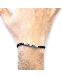 Anchor & Crew Black Talbot Silver & Rope Bracelet - Multicolour