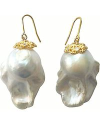 Farra - Nugget White Baroque Freshwater Pearls Earrings - Lyst