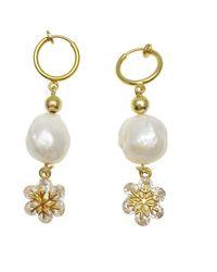 Farra Freshwater Pearls With Snowflake Clip-on Hoop Earrings - White