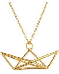 Origami Jewellery - Frame Boat Necklace Gold - Lyst