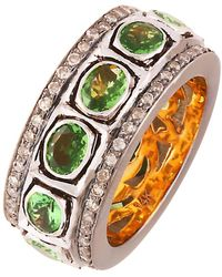 Kastur Jewels Classic Green Garnet Ring Band