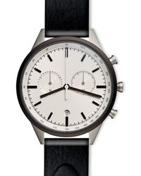 Uniform Wares Men's C41 Chronograph Watch In Pvd Grey With Nappa Black Leather Strap
