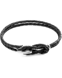 Anchor & Crew Coal Black Padstow Silver & Braided Leather Bracelet - Metallic