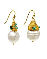 Farra Freshwater Pearls Drop Earrings - White