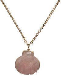 Tiana Jewel Rose Quartz Gemstone Shell Necklace - Multicolour