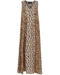 Lindsay Nicholas New York Maxi Dress In Leopard Silk - Multicolor