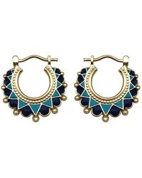 Mirabelle Creole Enamel Earrings Blue