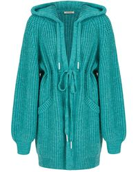 Nocturne Hooded Knit Cardigan-mint Green