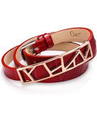 Ona Chan Jewelry - Leather Lattice Bracelet Small Red - Lyst